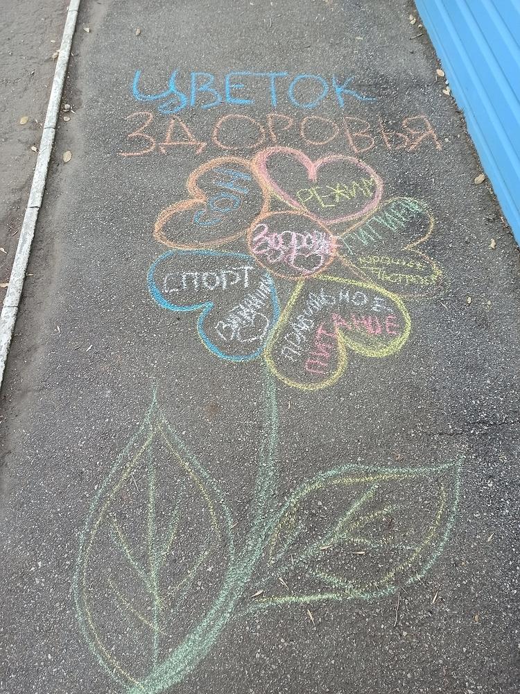 Цветы здоровья на асфальте